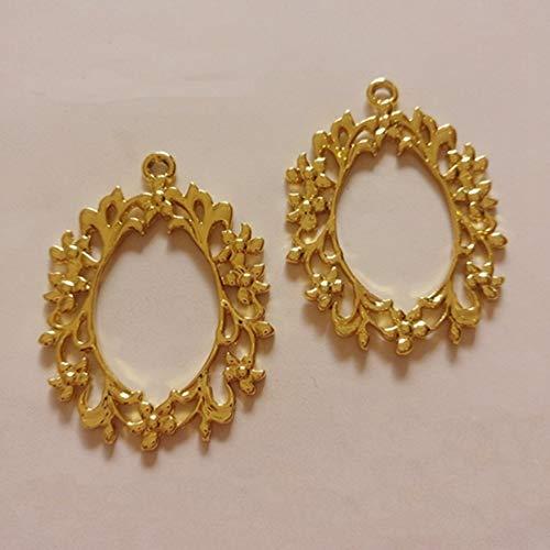 Laliva 10 pcs/lot Lace Oval Frame Pendant Gold Charm Bezel Setting Cabochon Setting UV Resin Charms - (Color: Gold) ()
