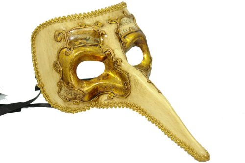 Decor Paper-mache Ornate Long Noses Masquerade Mask - Gold -
