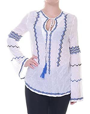 Guess Debbie Bo-ho Shirt Top Embroidered Tunic Size XS