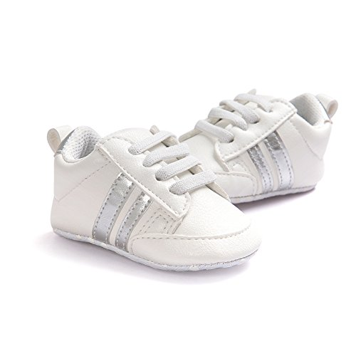 Itaar bebé niños niñas zapatillas suela suave, antideslizante, diseño de rayas Casual primera–Zapatos de Senderismo para bebé Niños White + Pink Stripe Talla:6-12 meses White + Sliver Stripe