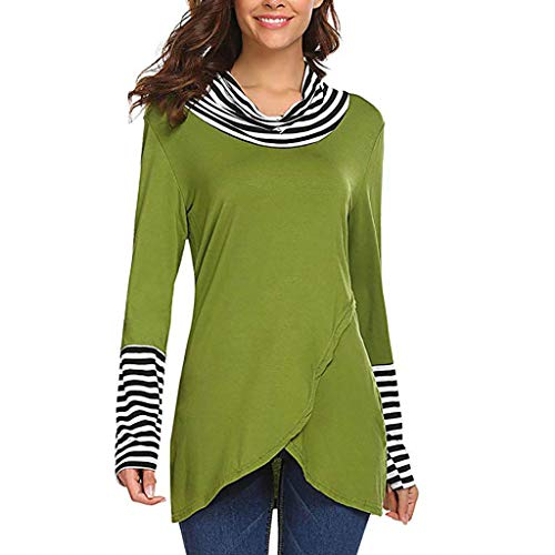 iHHAPY Womens Comfortable Long Sleeve Shirts Striped Patchwork Casual Layered A-Line Tops ()