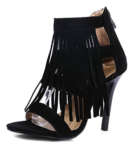 YE Damen Offene High Heels Stiletto Sommer Stiefeletten mit Fransen und Reißverschluss Ankle Boots Sandaletten Schuhe Schwarz