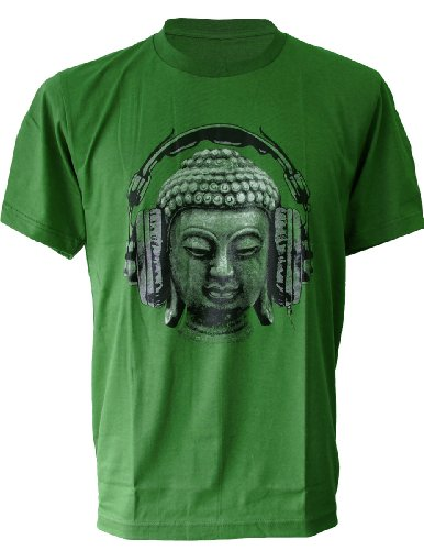 (SODAtees DJ Buddha Headphones music Men's T-SHIRT goa club - Green - Large )