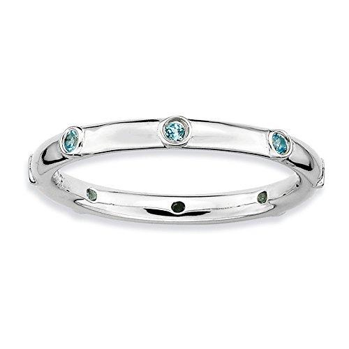 Size 7 - Blue Topaz Studded 2.25mm Band Sterling Silver Stackable Expressions - Studded Band Mm 2.25