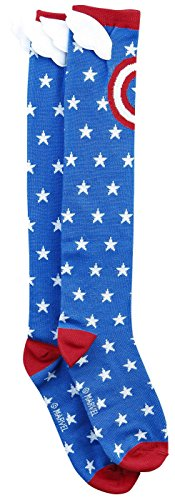 Captain America Star - Captain America Shield and Stars Knee High Socks with Wings multicolor one size Sock Size: 9-11 / Shoe Size 5-10