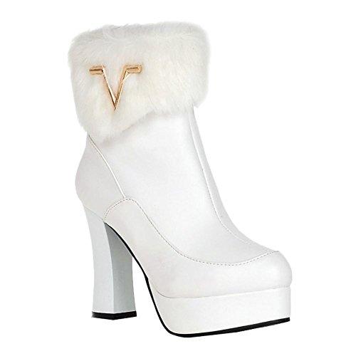Women's Faux Fur Zip Fashion Elegance Platform High Heel Snow Boots