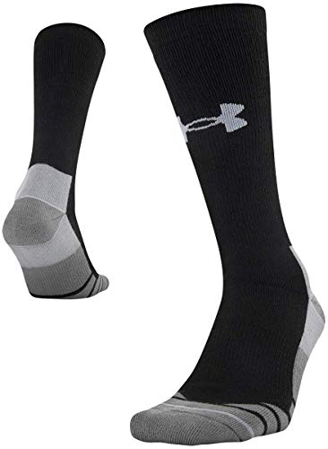 Under Armour Hitch Heavy Boot Socks, 1-Pair, Black/Steel, Shoe Size: Mens 12-16
