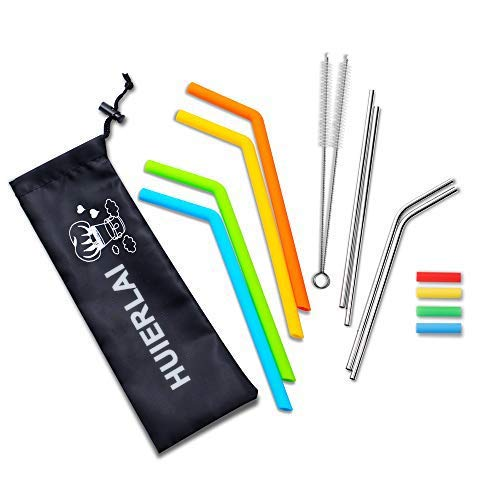 Reusable Straws with Case, 4PCS Stainless Steel Straws & 4PCS Silicone Straws for 30 oz&20 oz Tumblers, Straws Drinking Reusable Fits RTIC&YETI Cups with 2 Brushes Bonus 4 Silicone Tips
