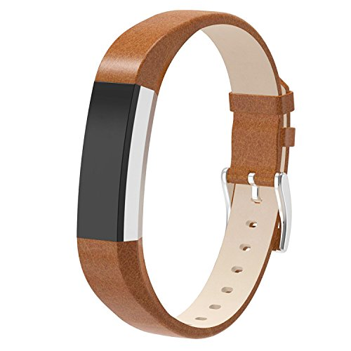 For Fitbit Alta HR and Alta, Snowcinda Accessories Leather Bands for Fitbit Alta HR and Alta, Watch Band Style, Brown (Lavender Leather Band Watch)