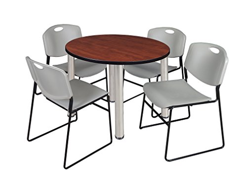 """Kee 42"""" Round Breakroom Table- Cherry/ Chrome & 4 Zeng Stack Chairs- Grey"""