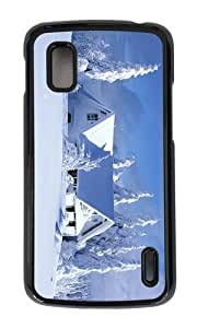 Google Nexus 4 Case,MOKSHOP Awesome House Covered in Snow Hard Case Protective Shell Cell Phone Cover For Google Nexus 4 - PC Black