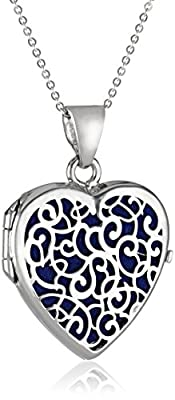 Sterling Silver Italian Heart with Freeform Design Locket Necklace