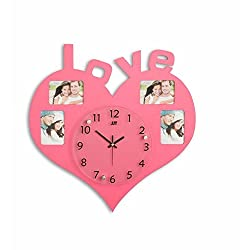 BYLE Creative Stylish Bedroom Love Clock Photo Frame Sitting Mute Simple Heart-Shaped Interior Wall Clock