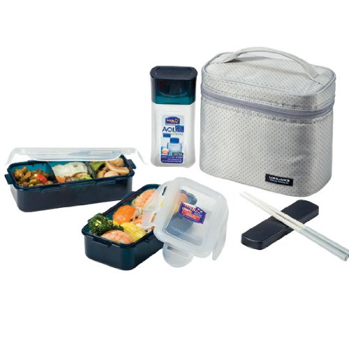 LOCK & LOCK Lunch Box Set with Gray Bag and Water Bottle