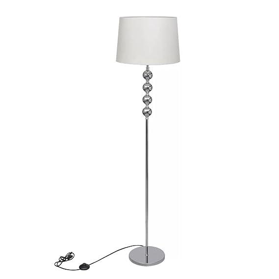 vidaXL Lámpara de Pie con Pantalla de Tela Blanca y Soporte de Metal Luz Suelo
