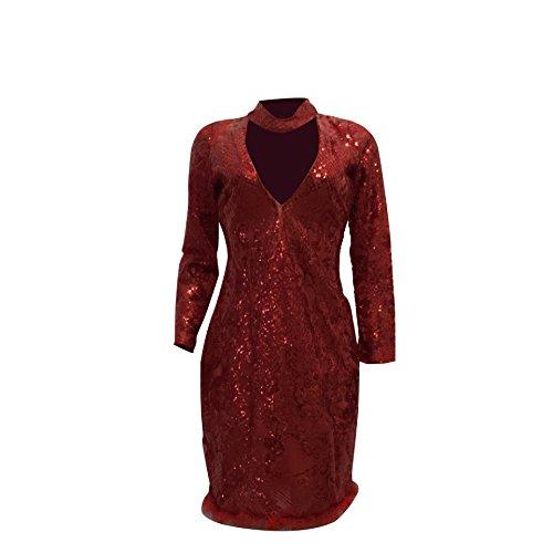 WDFZ Femme Fashion Paillettes Slim Robe Automne Hiver Sexy Jupe Hanche Red
