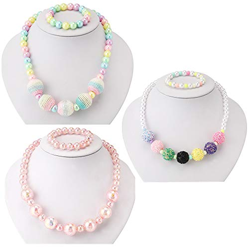 PinkSheep Kids Beaded Necklace and Bracelet 3 Sets, Wool Bead Bling Beads, Little Girls Jewelry