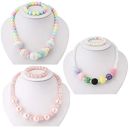 PinkSheep Kids Beaded Necklace and Bracelet 3 Sets, Wool Bead Bling Beads, Little Girls ()