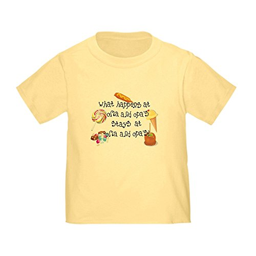 (CafePress What Happens at Oma and Opa's. Toddler T Cute Toddler T-Shirt, 100% Cotton Daffodil Yellow)