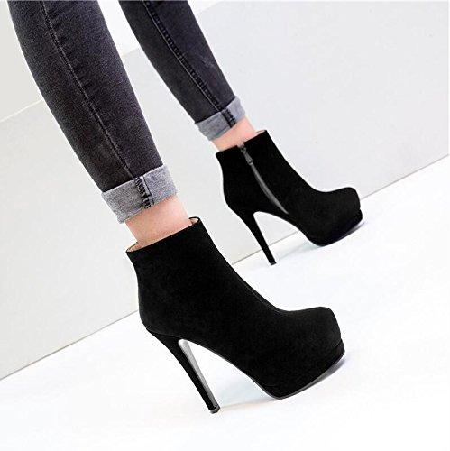 desnuda Taiwán alta Martin botas con simple y HGTYU de Black la ultra botas 13 5 fino invierno botas con de impermeables cm lateral femeninas de cremallera botas 4pqv7axpw