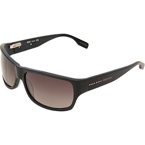Pol Gray Sunglasses - Hugo Boss Mens 0423/P/S Pol Rectangular Sunglasses, Matte Black/Gray Shaded