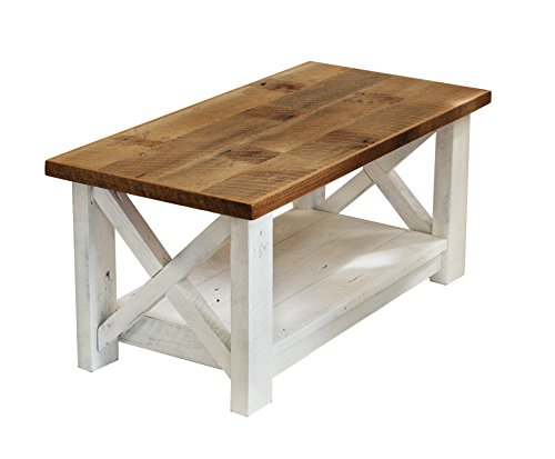 Farmhouse coffee table with White Base X made from reclaimed wood