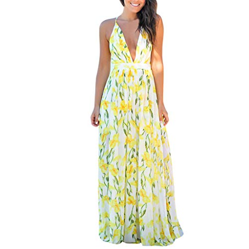 Women's Bohemian Floral Sleeveless Deep V-Neck Cocktail Dress Party Midi Dress Yellow -
