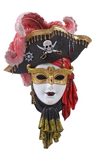 12.5 Inch Pirate Mask Wall Plaque Red Feathers Objet D'Art - Wall White Mask