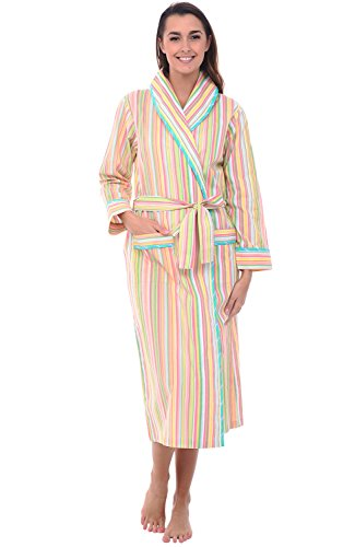 Alexander Del Rossa Women's Lightweight Cotton Kimono Robe, Summer Bathrobe, Medium Green Pastel Striped (A0515V03MD)