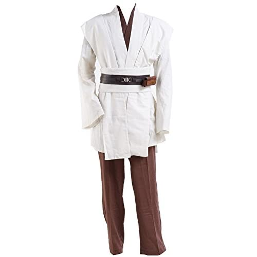 Cosplaysky Adult Outfit for Jedi Costume Halloween Robe Tunic Hooded Uniform