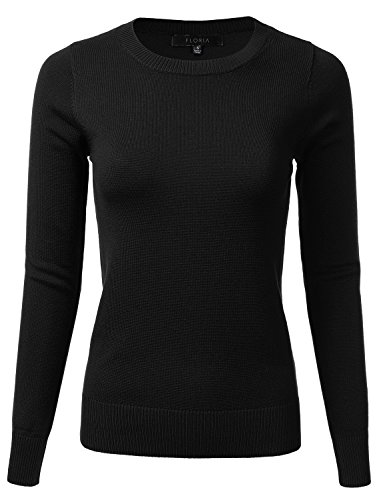 Crew Ribbed Sweatshirt (FLORIA Womens Long Sleeve Soft Crewneck Ribbed Trim Border Knit Top Sweater Black S)