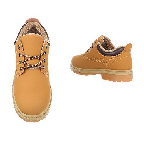 Schuhcity24 Herren Schuhe Stiefel Gefütterte Schnür Boots Camel