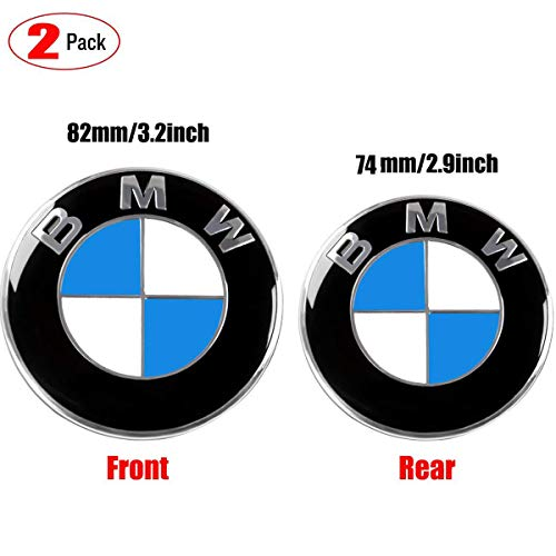 (Aswelly Emblem for BMW- Replacement Hood or Trunk Emblem Logo Front 82mm Rear 74mm for BMW E30 E36 E34 E60 E65 E38 X3 X5 X6 3-Series 5-Series 6-Series 7-Series)