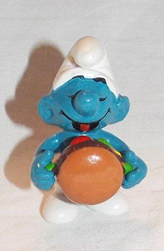 (1983 Vintage Smurf Holding Hamburger PVC Figure)