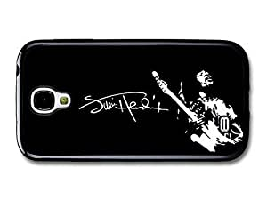 AMAF ? Accessories Jimi Hendrix Signature Black and White Illustration Playing Guitar case for Samsung Galaxy S4