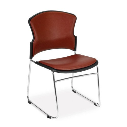 - OFM Contract Anti-Microbial Vinyl Stack Chair, Wine