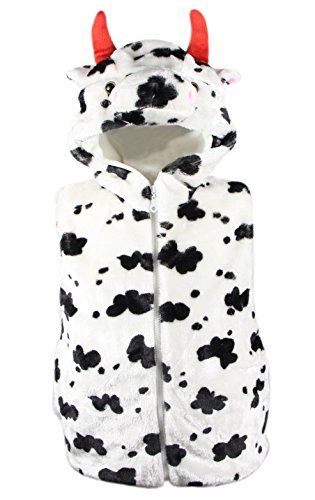 Bioterti Kids' Animal Hooded Vest for Dress Up/Manufacture/16 Amazing Styles (Large, Cow)
