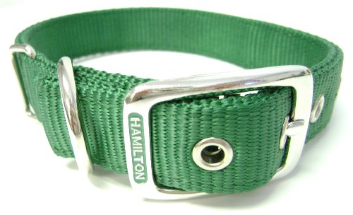 Hamilton Double Thick Nylon Deluxe Dog Collar, 1-Inch by 28-Inch, Green