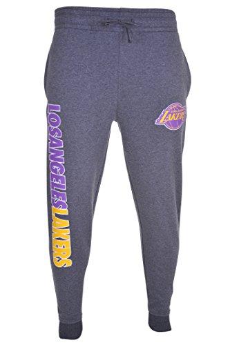 NBA Los Angeles Lakers Men's Fleece Jogger Pants, Large, Heather Charcoal