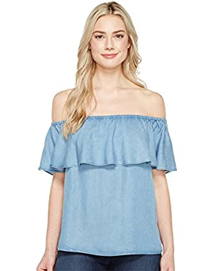 7 For All Mankind Womens Off Shoulder Ruffled Denim Top