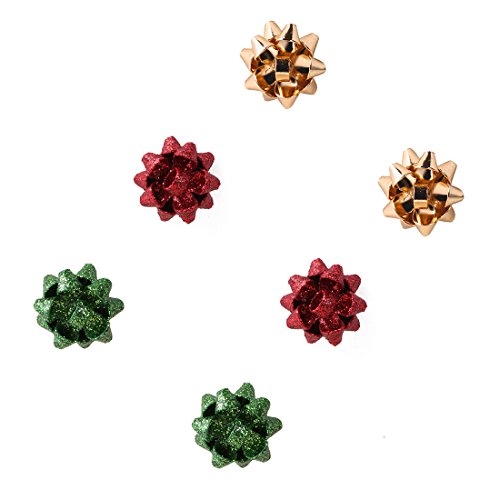 VK Accessories 3 Paris Bow Studs Christmas Gift Girl Shimmering Earrings (Green, Golden, Red) ()