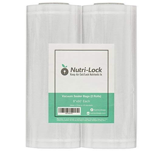 Nutri-Lock Vacuum Sealer Bags. 2 Pack 8x50 Commercial Grade Sealer Rolls for FoodSaver, Sous Vide