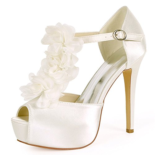 L@YC Zapatos de Boda de Mujer Kitten Satin 12.5cm Heel Buckle Evening Low Heels Like Heel High Bridal Chunky Ivory