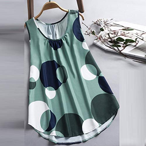 ecfd056cde775 Amazon.com - Basic Casual Simple Tops Plus Size Women Big wave Print Casual  Sleeveless Vest Dot T-shirt Ladies O-Neck T Shirt Sweatshirt Pullover Sport  ...