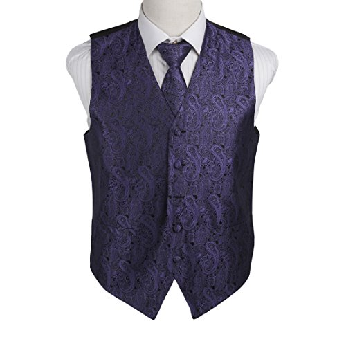 EGD1B02B-L Medium Purple Patterns Microfiber Dress Tuxedo Vest Neck Tie Set Suppliers For Working By Epoint (Mans Vest Working)