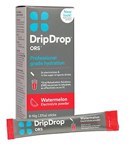 DripDrop ORS Hydration Powder, Watermelon, 8 Powder Sticks Per Box (2 Pack)