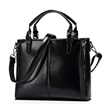 Womens Briefcase Leather Top Handle Bag Laptop Satchel Shoulder Handbag Purse Black