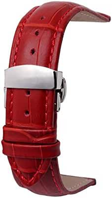 omyzam Watch Band Strap with Deployment Clasp Buckle 18mm Red
