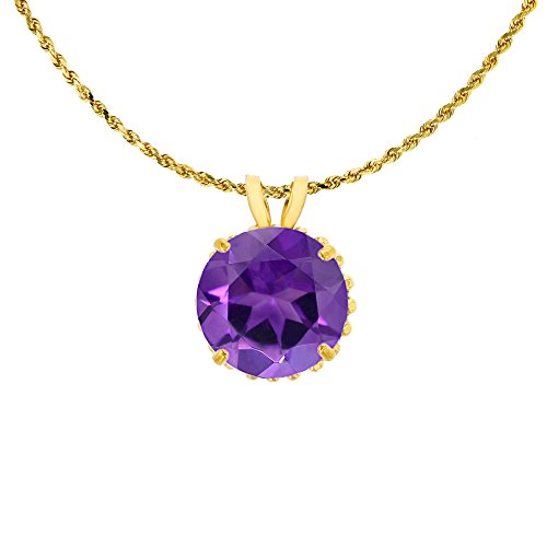 10K Yellow Gold 7mm Round Cut Amethyst with Bead Frame Rabbit Ear 18