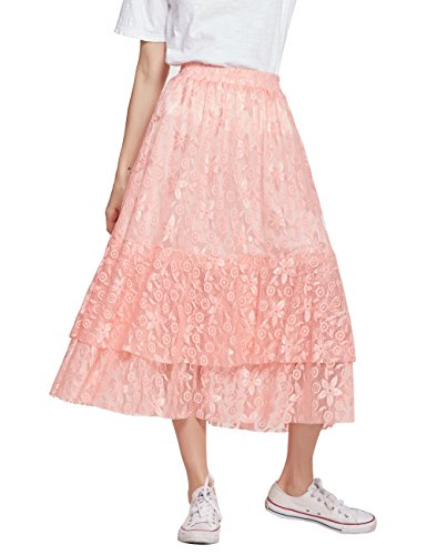 (Women's A-Line Maxi Lace Embroidered Skirt With Elastic Waistband(C003Pink-L))